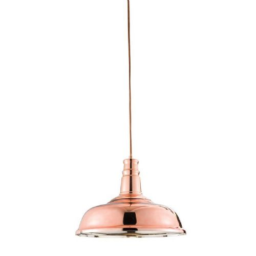 Copper plated glass & copper plate Pendant Light BX61705-17 by Endon (Class 2 Double Insulated)